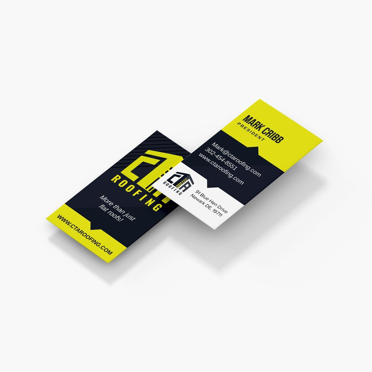 Roofing company business card design from BrandSwan, a Delaware branding agency