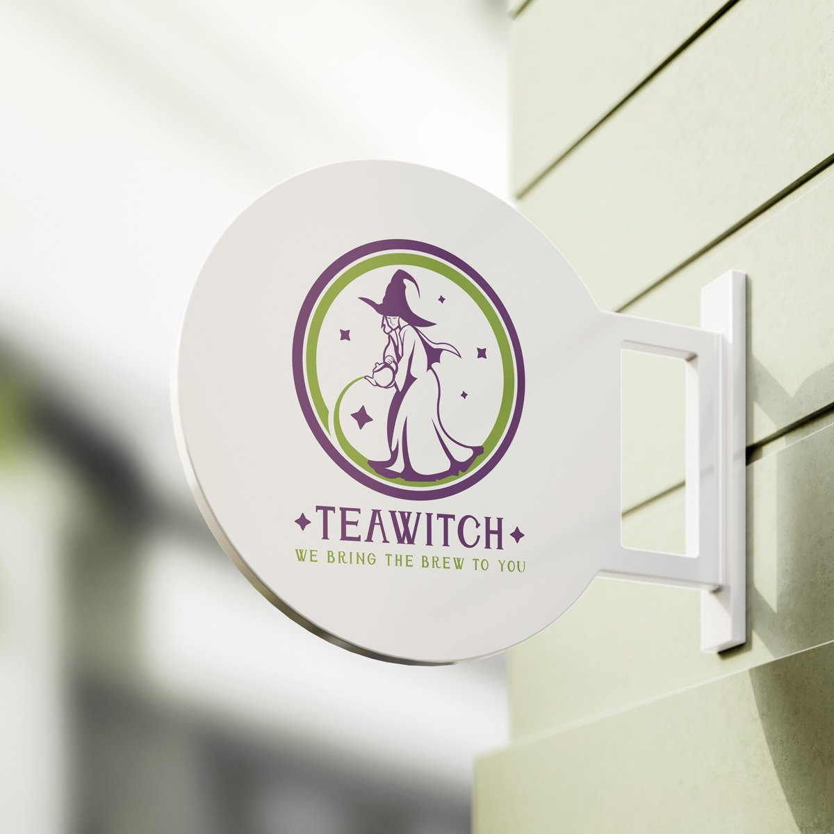 A logo design created by BrandSwan for a local high tea catering company: a witch pouring a cup of tea