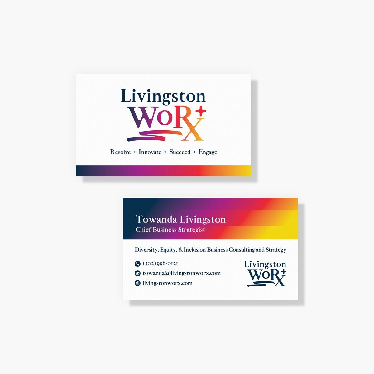 Livingston WoRX Business Cards Design by BrandSwan, a graphic design company