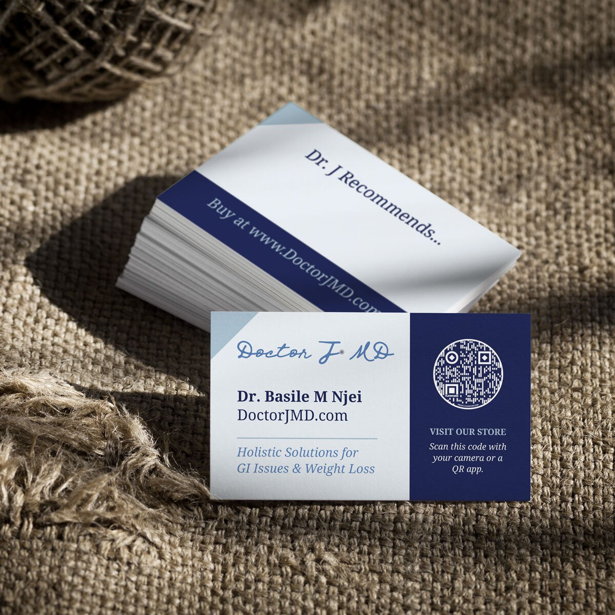 Wellness company business card design from BrandSwan, a Delaware branding agency