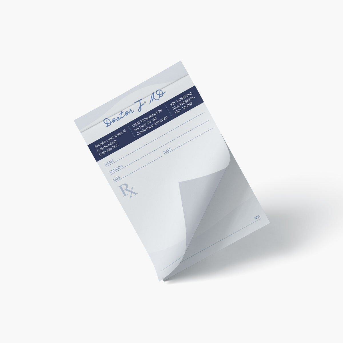 Doctor J MD Prescription Pad Design by BrandSwan, a graphic design company