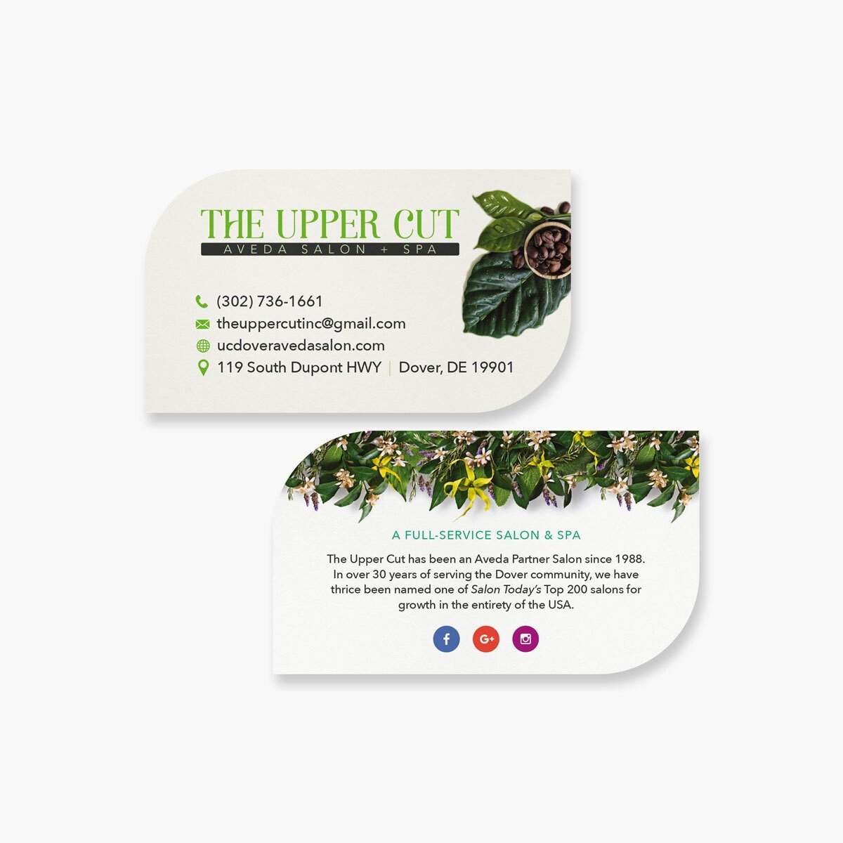 The Upper Cut Salon Business Cards Design by BrandSwan, a graphic design company