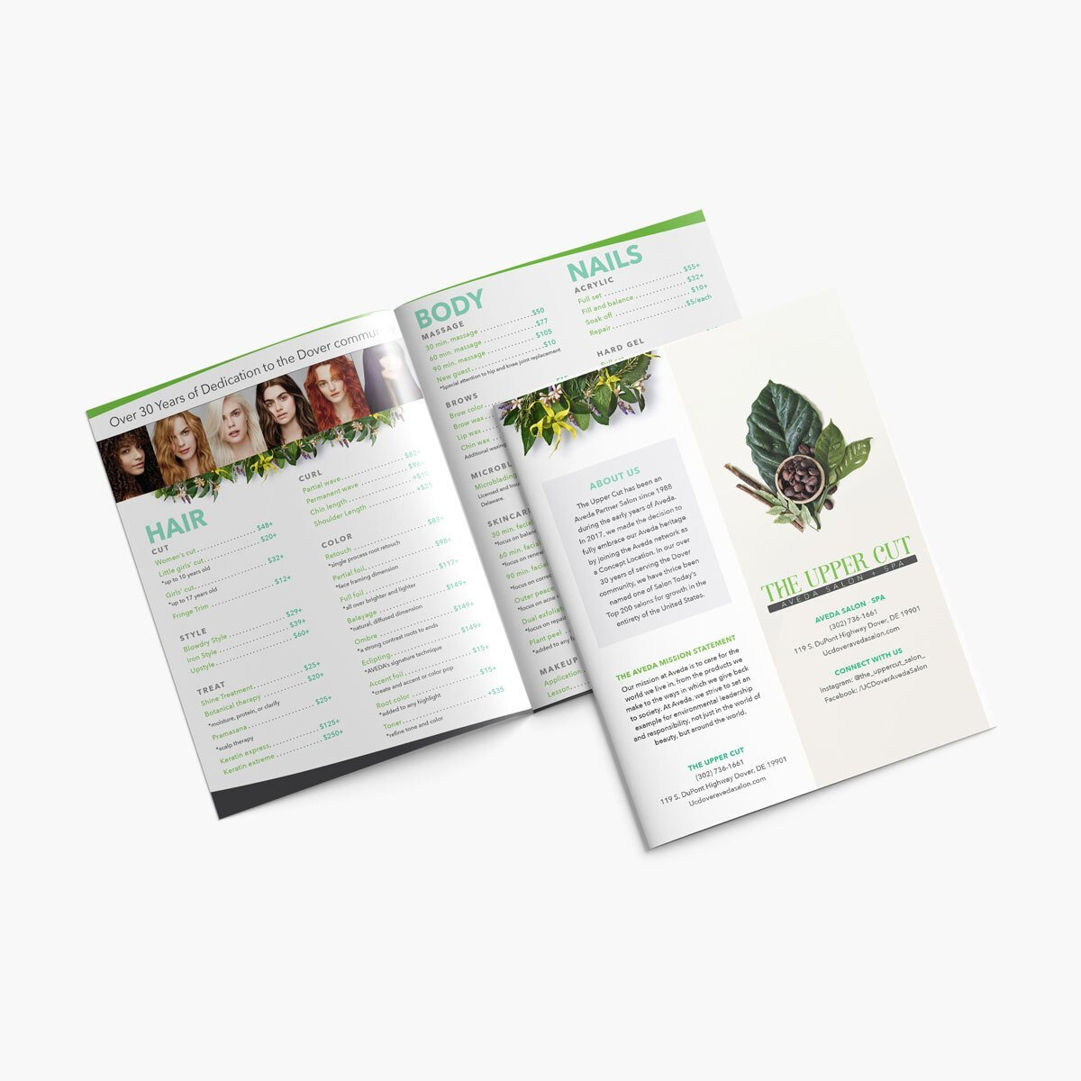 Hair salon pricing brochure design from BrandSwan, a Delaware branding agency