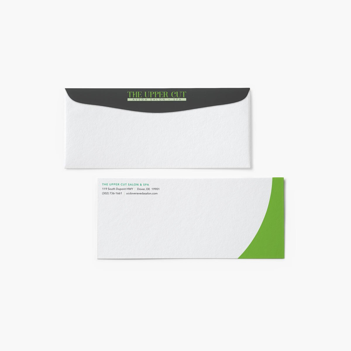 The Upper Cut Salon Envelope Design by BrandSwan, a graphic design company