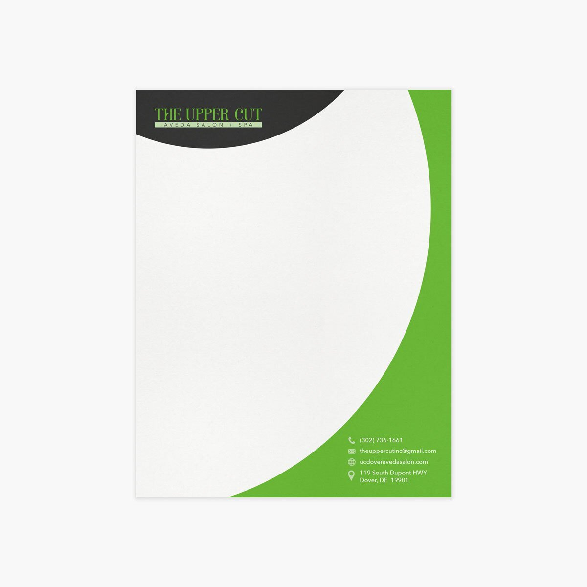 The Upper Cut Salon Letterhead Design by BrandSwan, a graphic design company