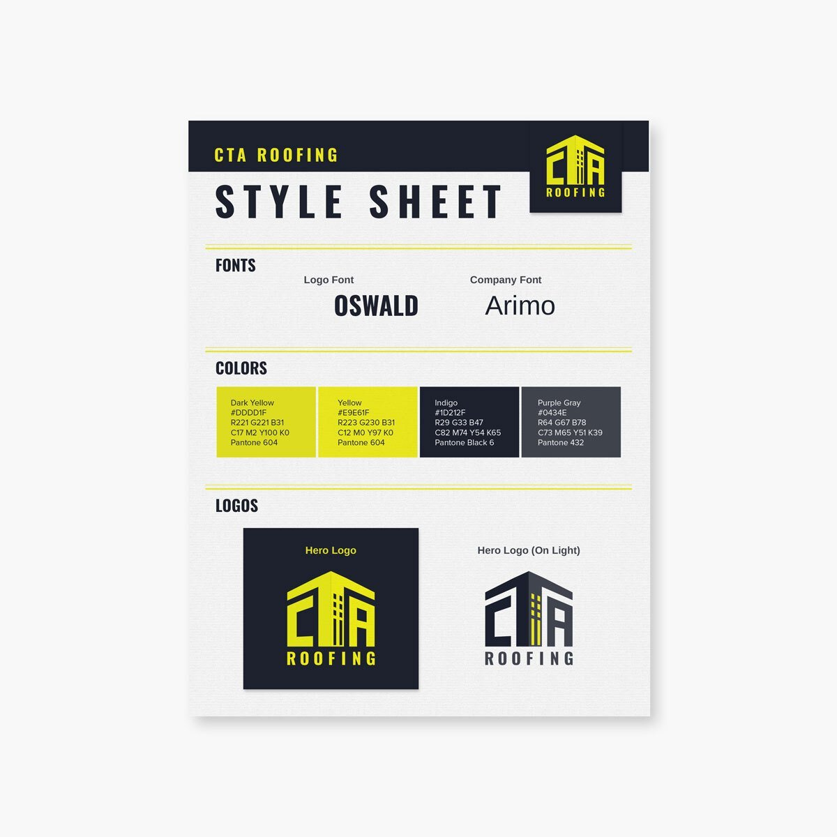 Roofing company style sheet from BrandSwan, a Delaware branding agency