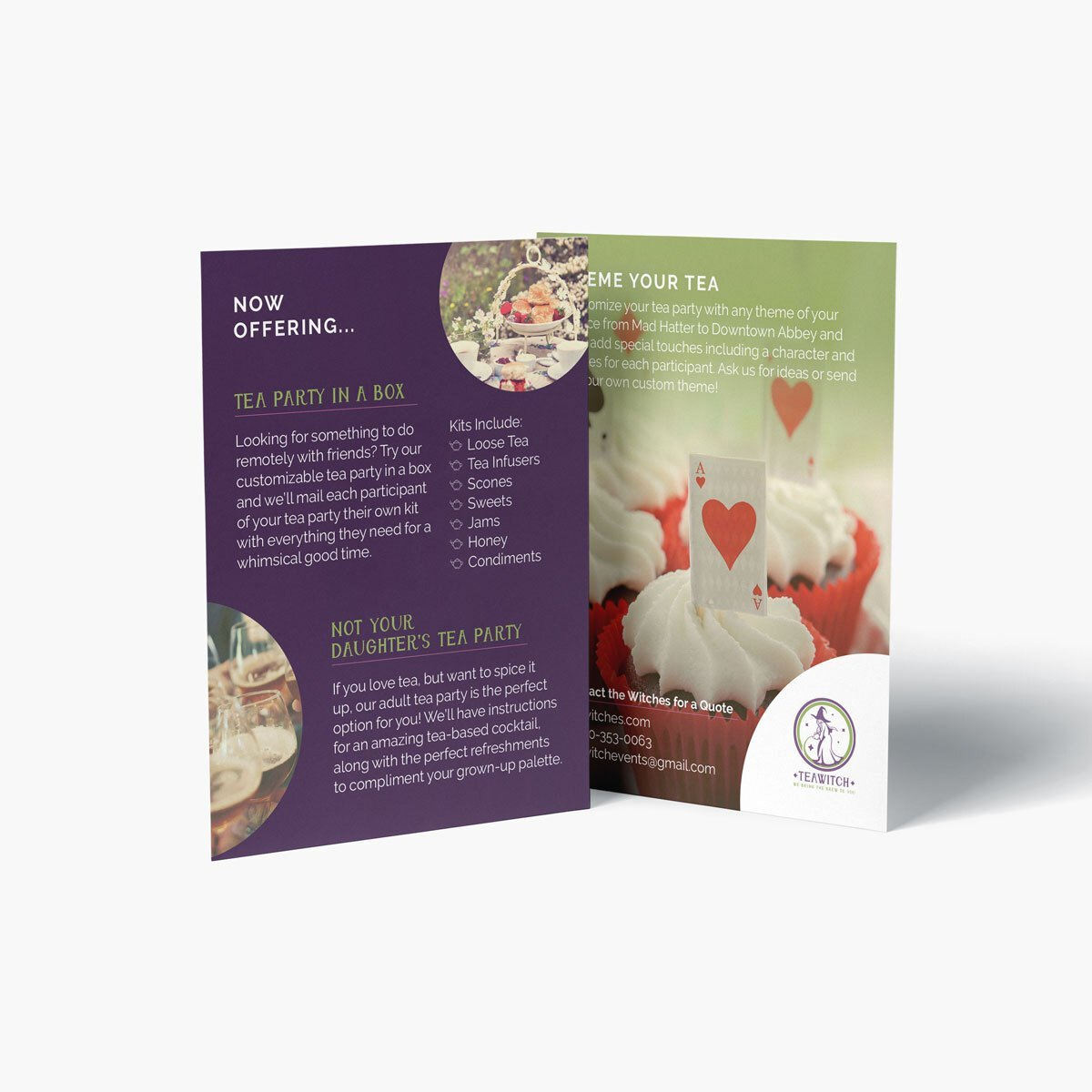 Tea party catering brochure design from BrandSwan, a Delaware branding agency