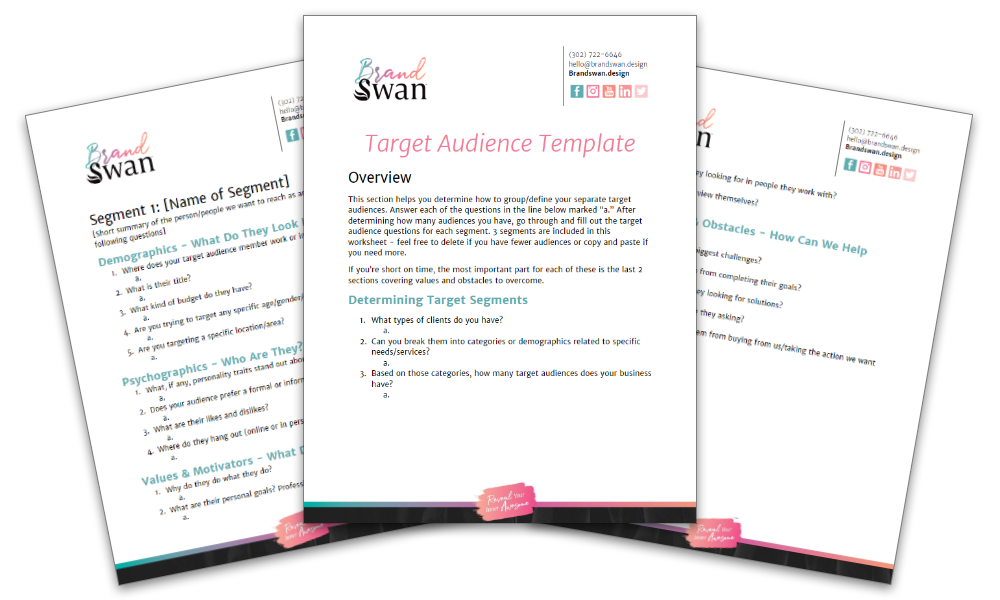 Target Audience Worksheet preview | a free resource from BrandSwan, a Delaware branding agency
