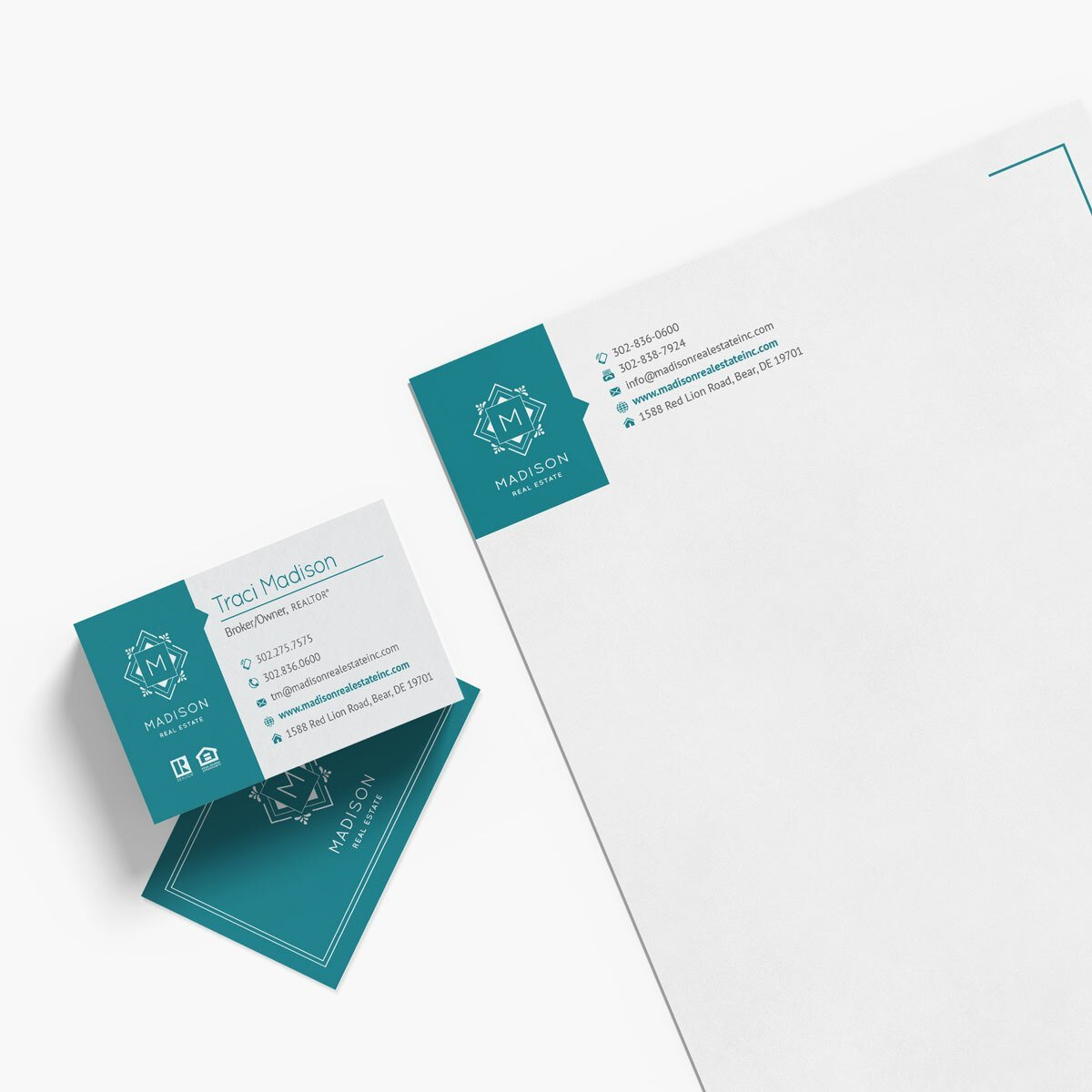 Madison Real Estate Business Cards & Letterhead Design by BrandSwan, a graphic design company