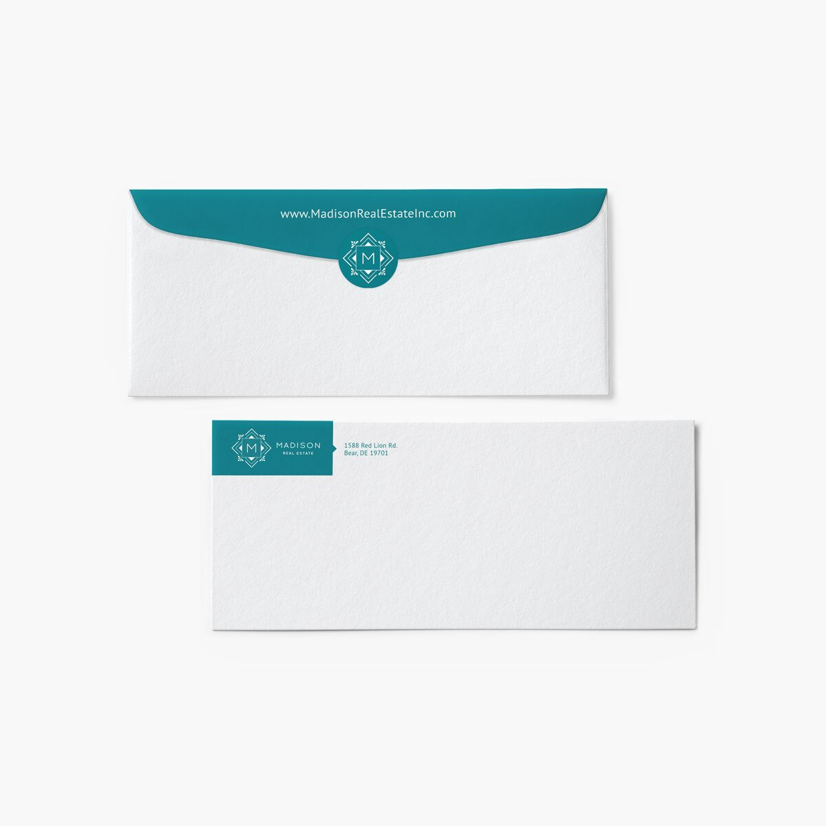 Madison Real Estate Envelope Design by BrandSwan, a graphic design company