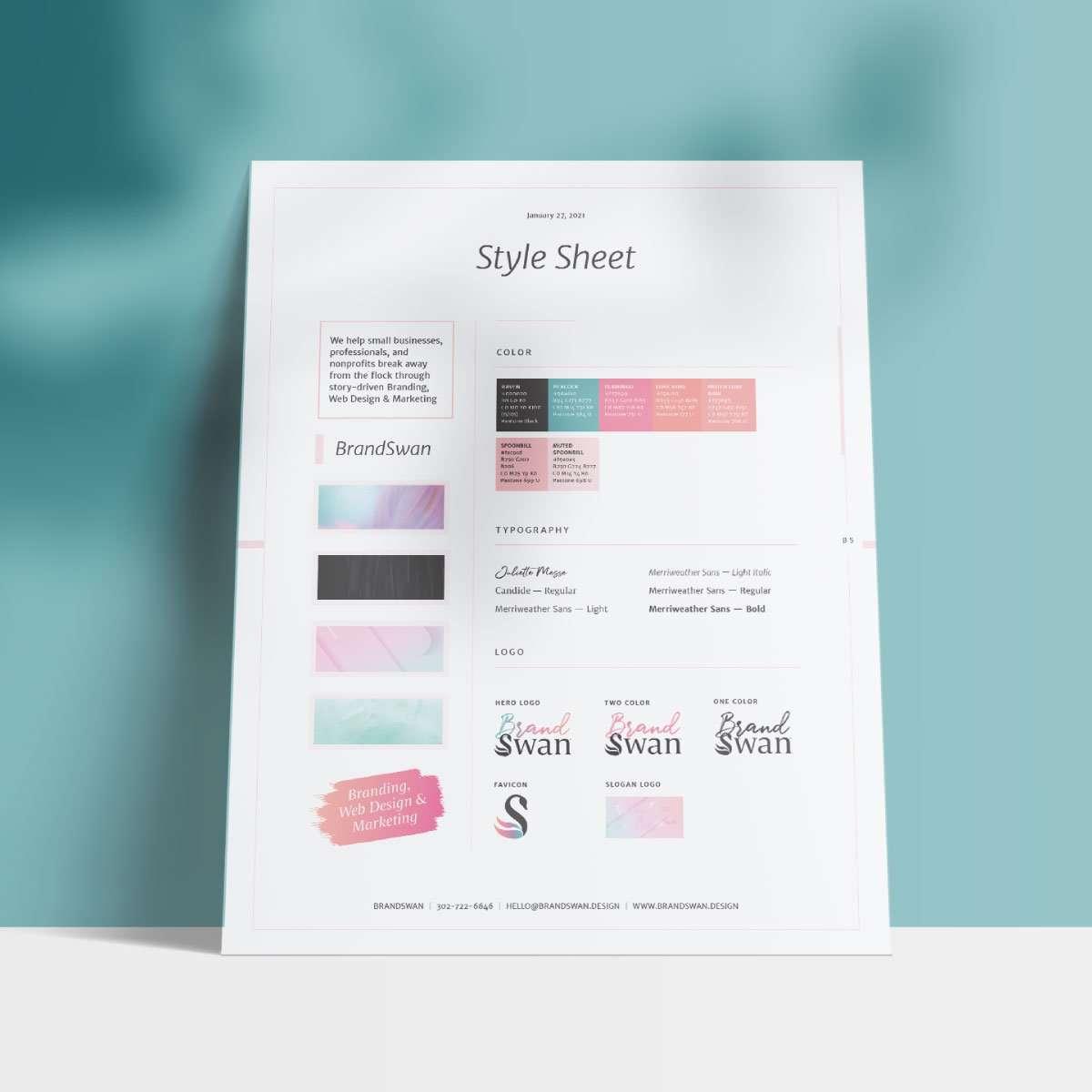 Style sheet for BrandSwan, a Delaware branding agency
