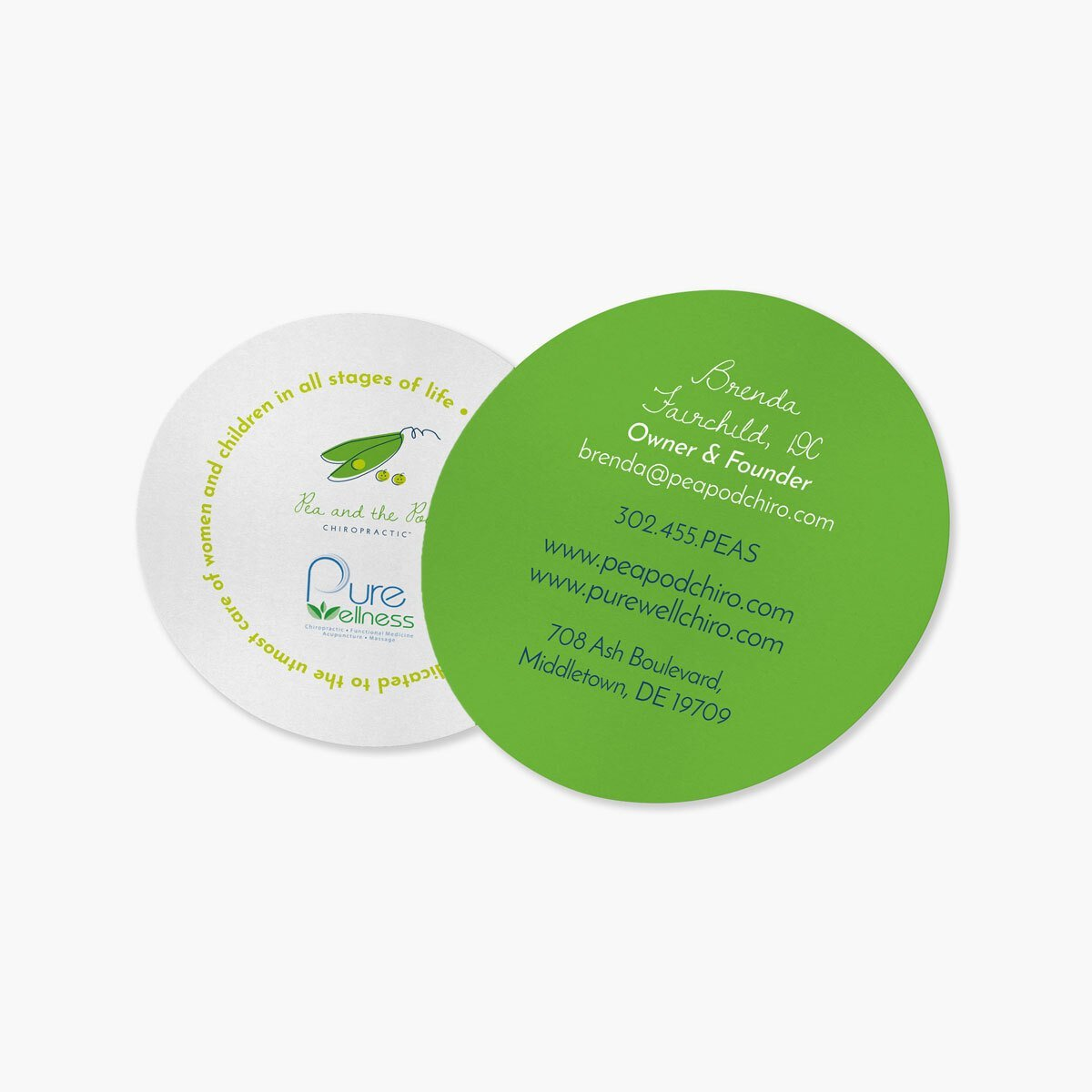 Pea and the Pod Chiropractic Business Cards Design by BrandSwan, a graphic design company