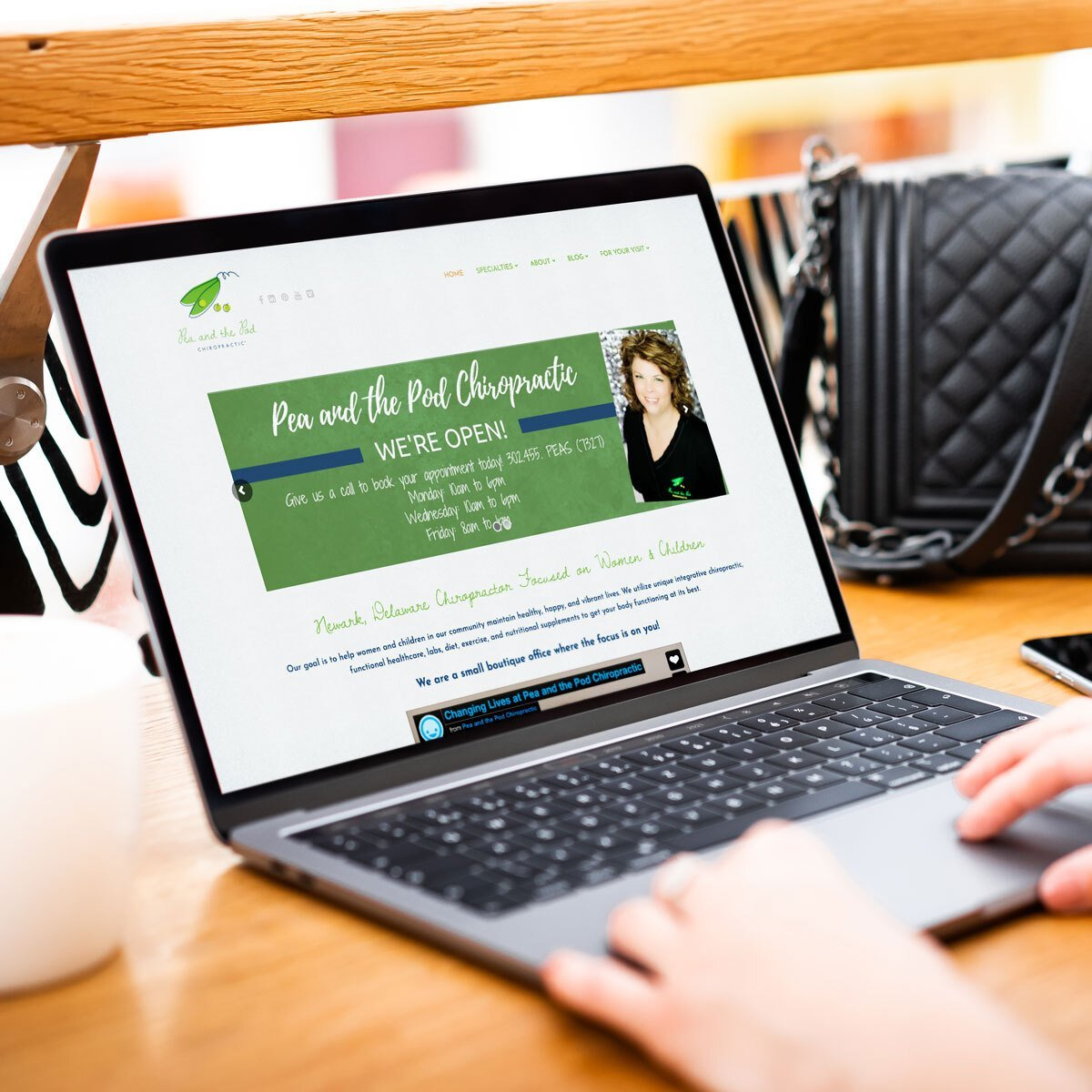 Pea and the Pod Chiropractic Web Design by BrandSwan, a web design company