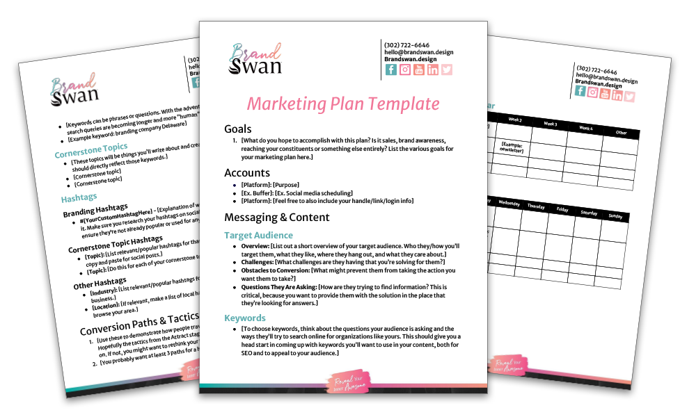 Marketing Plan Template from BrandSwan, a woman-owned marketing agency in Delaware